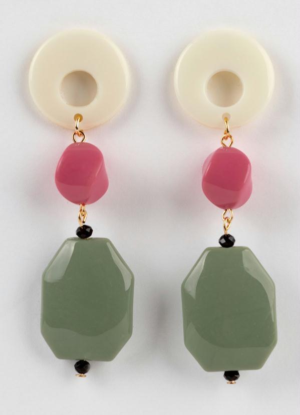 Brinco Branco Rosa e Verde com Metal Dourado
