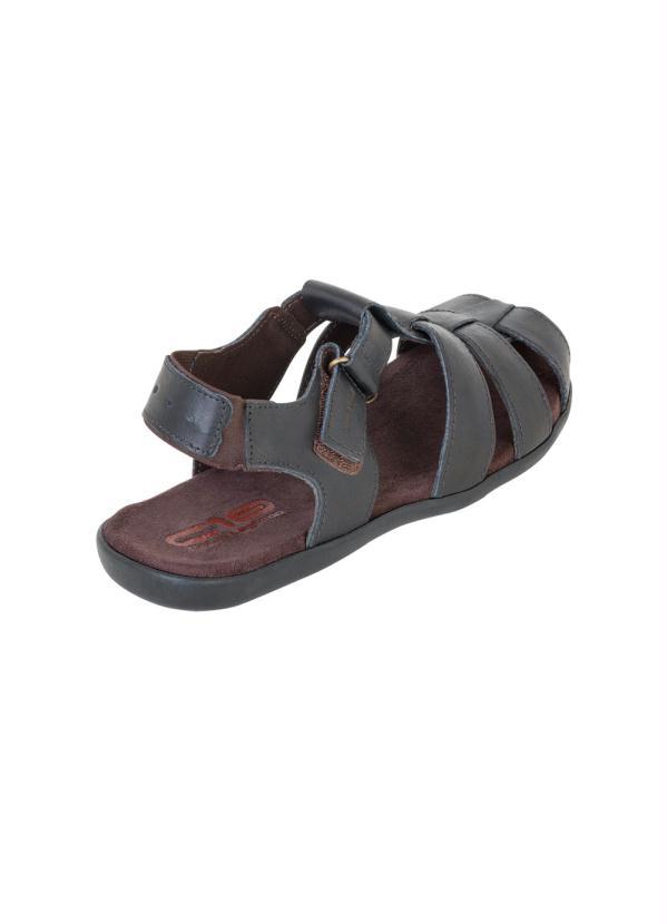 Sandália Preta com Velcro e Elástico