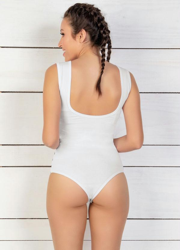 Body Branco Frente Listrada e Decote Profundo
