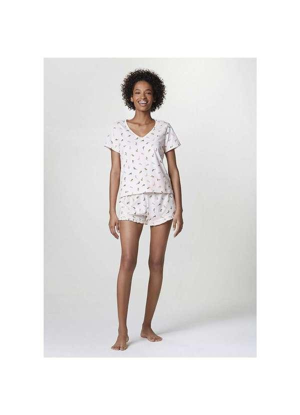 Pijama Curto Feminino Estampado Decote V 1ten