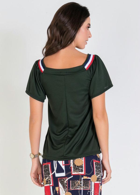 Blusa Verde Militar com Faixa Moda Evangélica