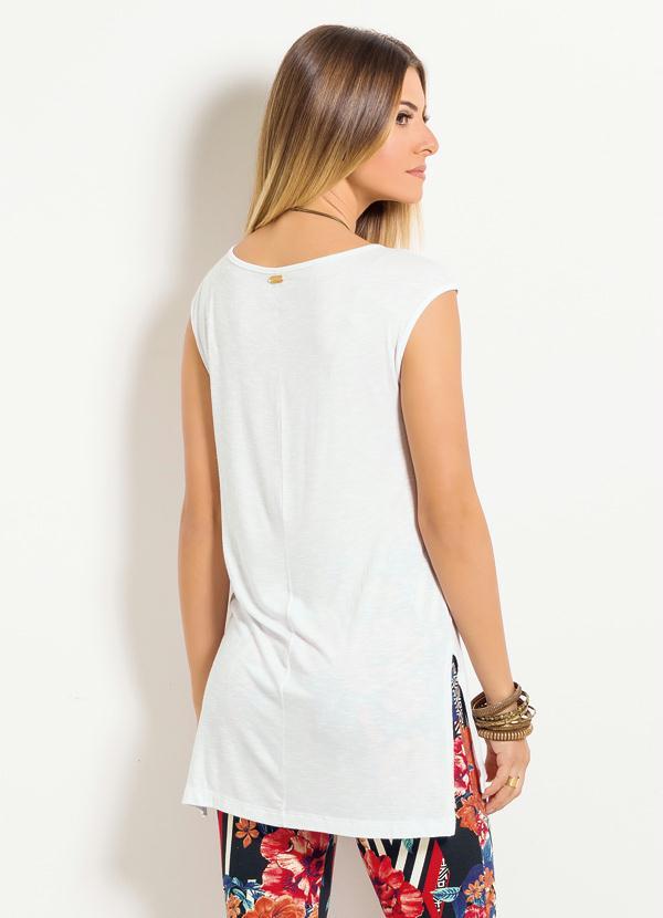 Blusa Mullet Quintess com Fendas Branca