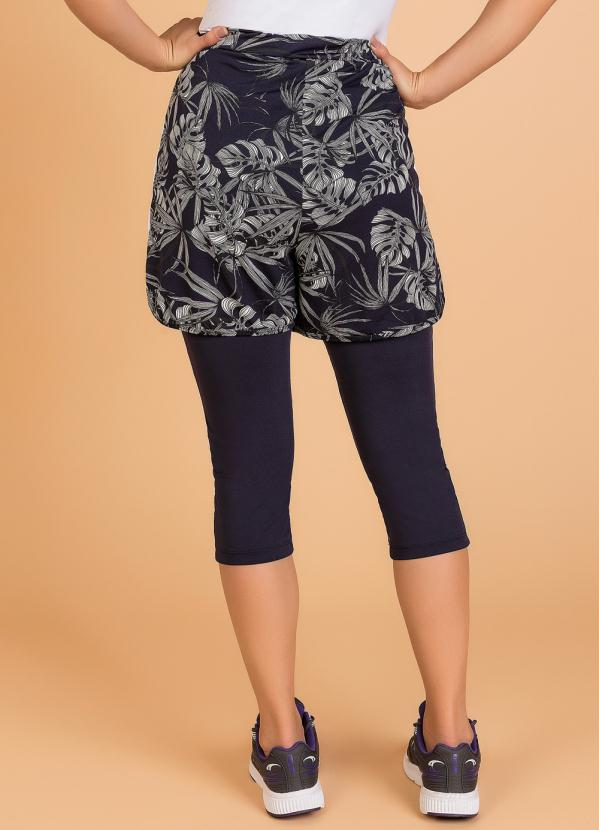 Shorts Legging Fitness Folhagem Moda Evangélica