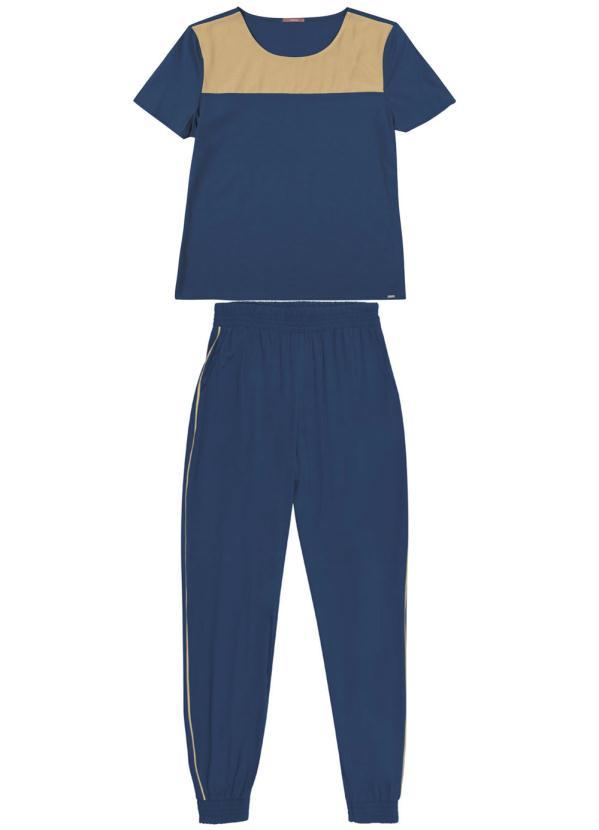Conjunto Blusa Manga Curta e Calça Azul