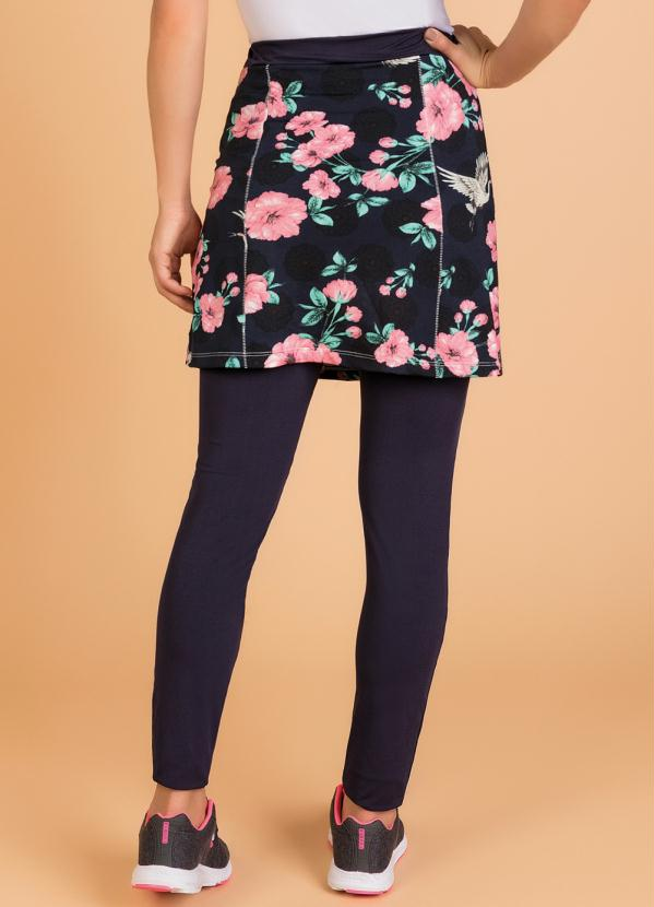 Saia Legging Floral Moda Evangélica Fitness