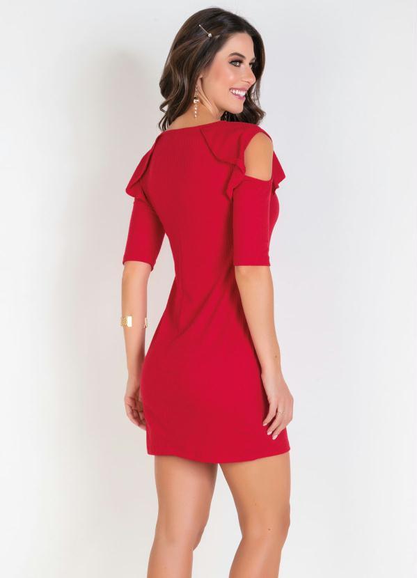 Vestido Vermelho com Babados e Ombros Vazados