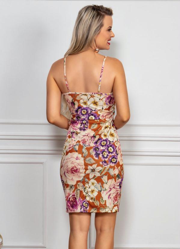 Vestido Midi Floral com Alças Finas