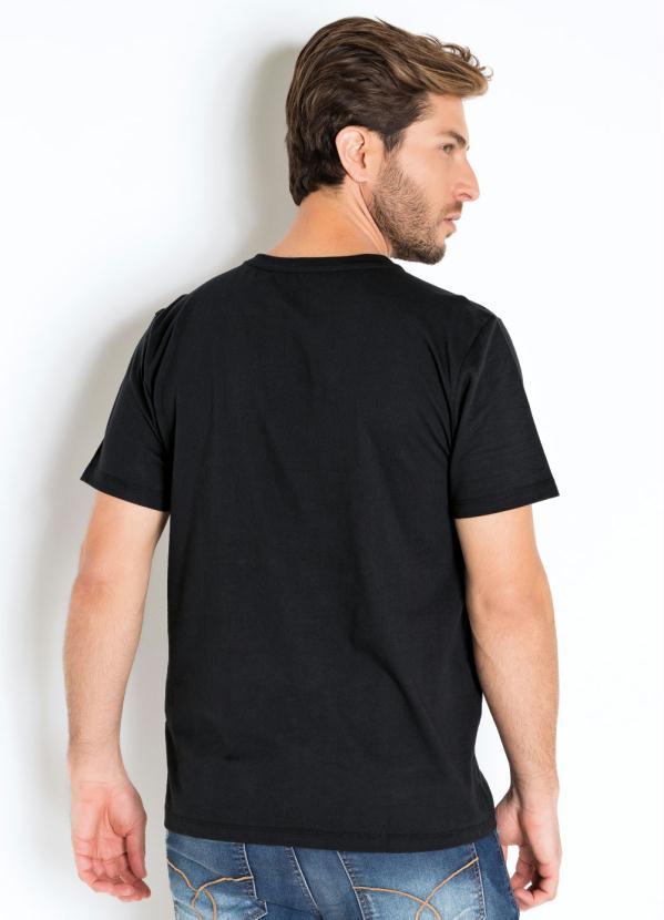 Camiseta Actual com Estampa de Raios Preta