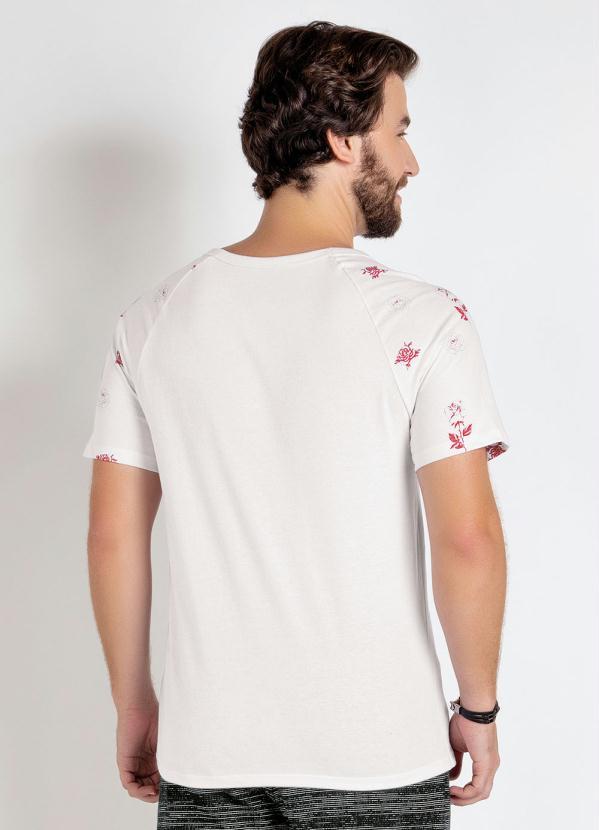 Camiseta Branca Manga Raglan Estampada