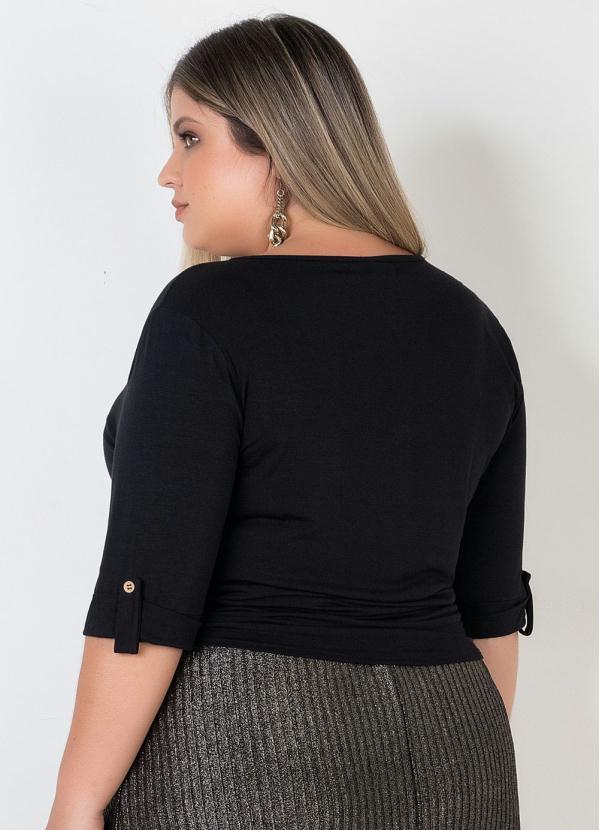Blusa com Detalhe de Amarração Frente Preta