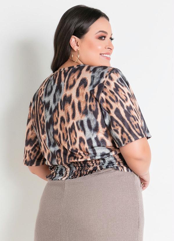Blusa Onça Cropped com Elástico Plus Size