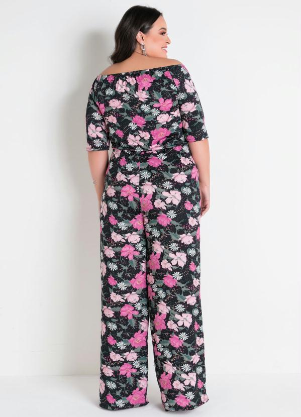 Macacão Floral Ciganinha Pantalona Plus Size