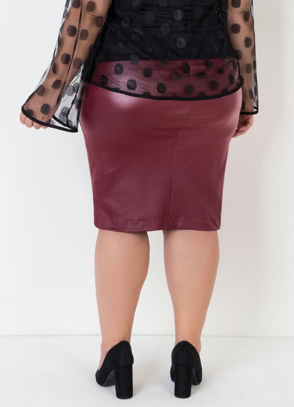 Saia Plus Size Bordô com Amarração