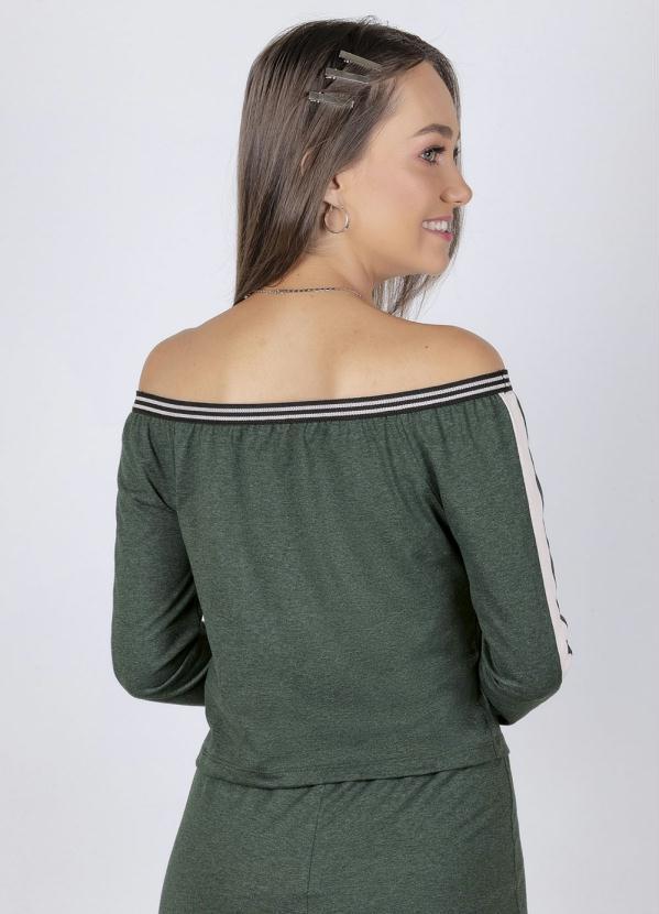 Blusa Juvenil Elástico Ombro a Ombro Verde
