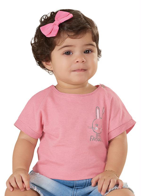 Blusa Infantil Coelho Rosa Up Baby