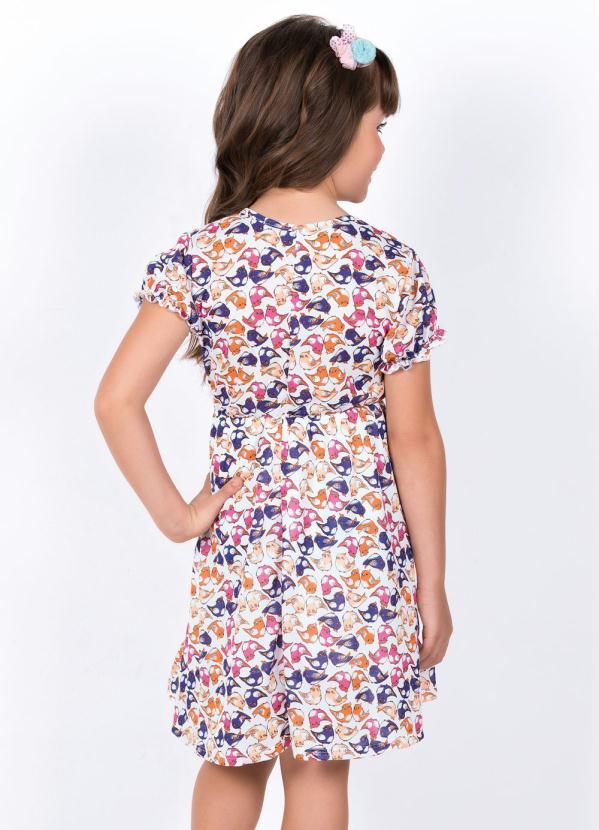 Vestido Infantil com Laço Decorativo Passáros