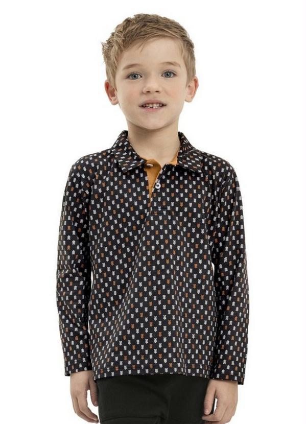Camisa Infantil Polo Manga Longa Preto