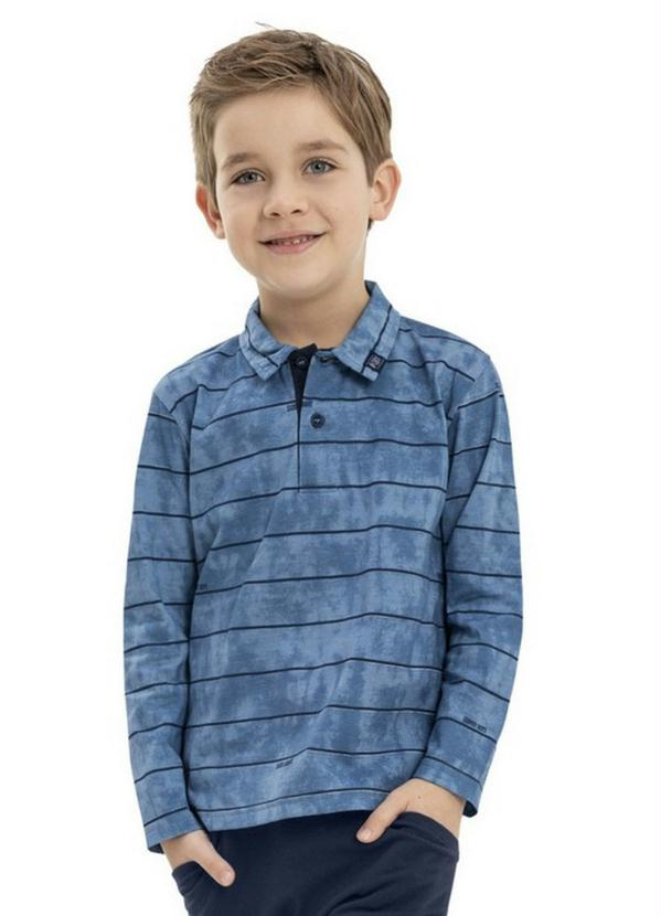 Camisa Infantil Polo Manga Longa Azul